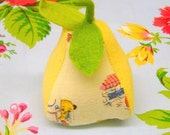 Pear Pincushion made with vintage Sooty and Sweep Fabric  and Wool Felt