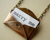 Secret Love Letter Vintage Brass Envelope Locket Necklace