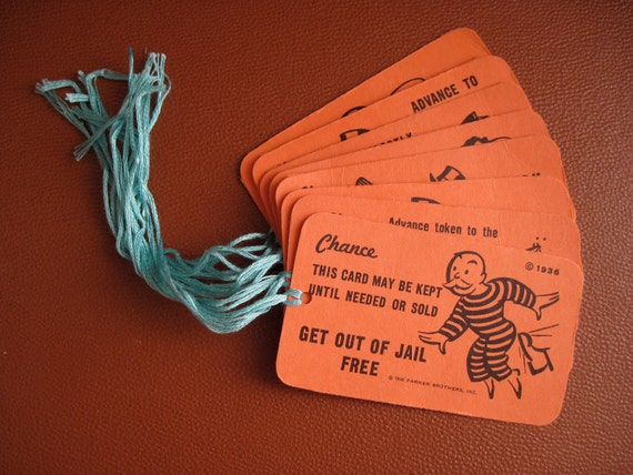 Recycled Gift Tags - Monopoly Chance cards