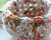Garden Party Upcycled Fabric Crochet Basket or Bowl