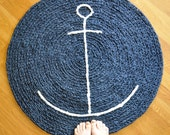 EKRA Reserved for Kathy Nautical Anchor Round Crochet Area Rug