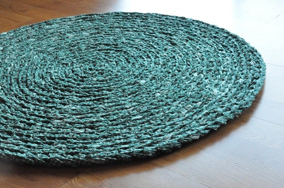 EKRA Emerald Green Starry Night Round Crochet Upcycled Area Rug