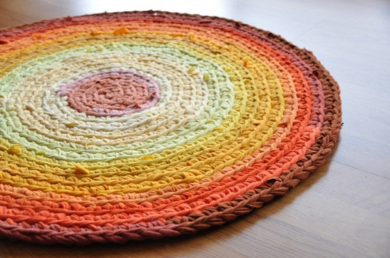 Sunburst Round Crochet Recycled T shirt Area Rug