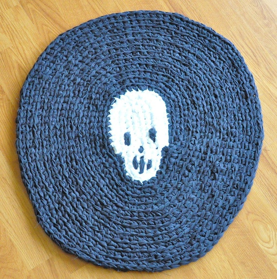 Skull Crochet Upcycled Area Rug By Ekra On Etsy