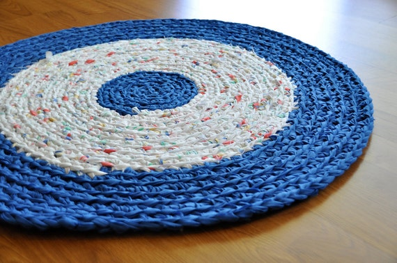 Ecofriendly Washable Crochet Area Rag Rug Blue and White