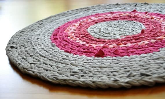 EKRA Crochet Rug Magenta Pink Red and Gray Round Upcycled Area