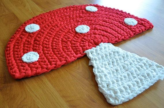 Mushroom Rug Crochet Upcycled Area Throw