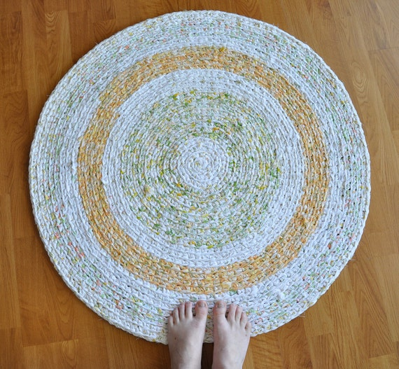 Area Rug - Large Crochet Mat - Citrus Colors - Upcycled by EKRA