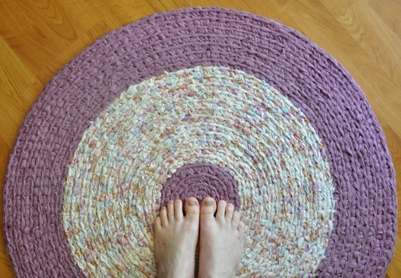 Reserved for Dan SALE Crochet Area Rag Rug - Lilac Suset by EKRA