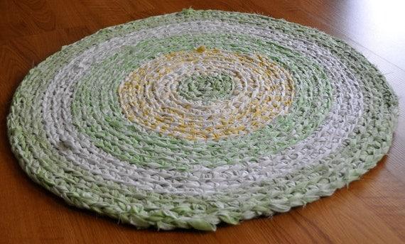 Rag Rug Yellow and Green Crochet Washable Rag Rug
