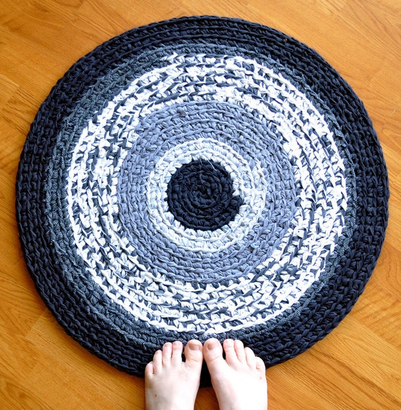 Crochet Area Rug - Black White and Gray