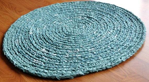 Bathroom Rug - Mint Green - Eco Friendly - Upcycled - Area Rug