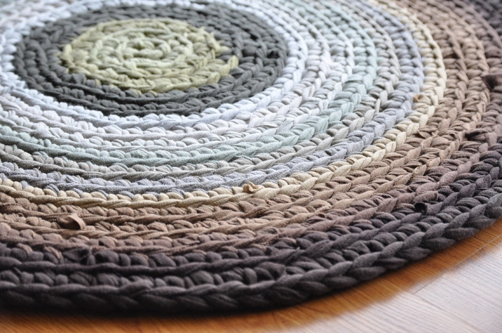 Earth Tones T Shirt Round Crochet Upcycled Area Rug