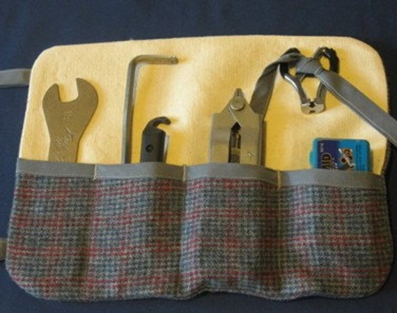 delicious bike tool roll- understated plaid edition