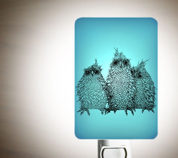 Baby Owls Nightlight on Aqua Blue Fused Glass Night Light - Gift for Baby Shower or Nature Lover - Cute Owlet