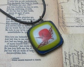 Swallow pendant in fused glass