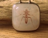 Translucent White pendant in fused glass w/ Wasp