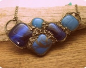 Urban Artifact .... fused glass and copper bib style statement necklace in blues