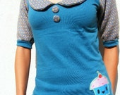 Cupcake Top with Peter Pan Collar Choose from S, M or L