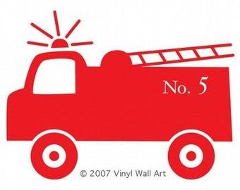 Fire Truck Vinyl Wall Decal SMALL - Children's Room Decor, Nursery Design, Little Boy Decal,