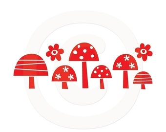 Mushrooms Vinyl Decal Set size SMALL - Flower Decal, Home Decor, Office Decor, Kitchen Design, Bedroom Decal, Garden Design,