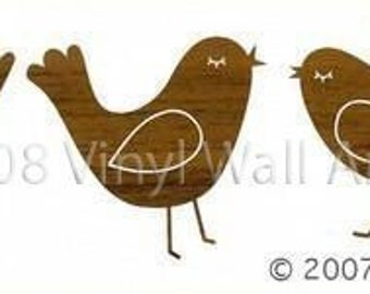 Wood Birds Wall Decals (Set of 3) SMALL