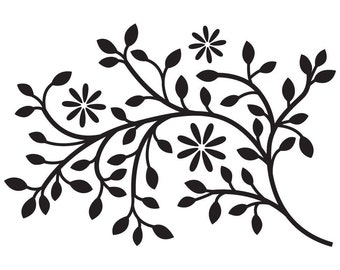 Leafy Branch Vinyl Wall Decal MEDUM