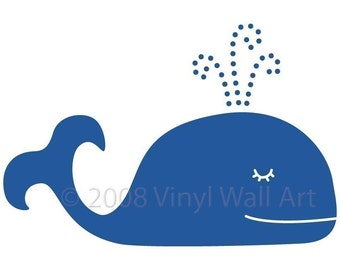 Whale Vinyl Wall Decal LARGE