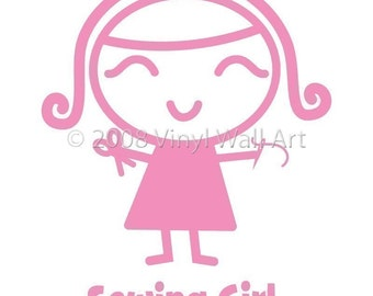 Sewing Girl Vinyl Car Decal