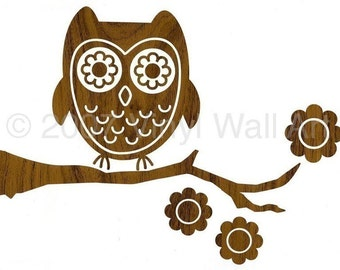 Vinyl Wall Art Decal Wood Owl SMALL