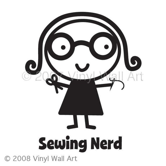 Sewing Nerd Vinyl Car Decal - Car Sticker, Laptop Sticker, Window Decal, Personalized Decal,