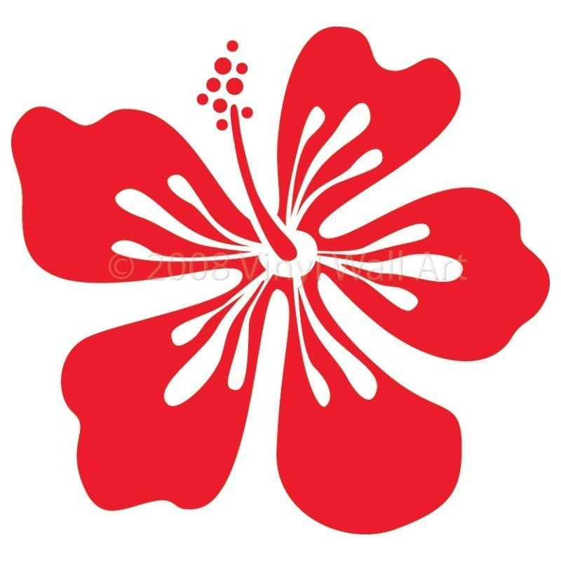 Hawaiian Hibiscus Flower Wall Decal Small