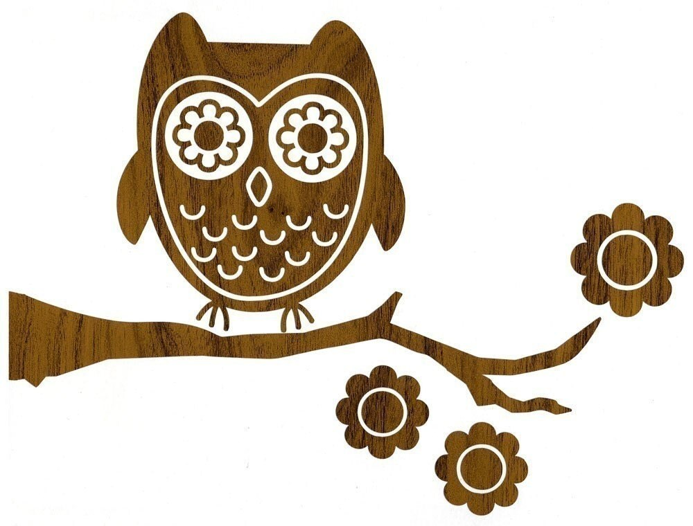 wood owl wall decal. Black Bedroom Furniture Sets. Home Design Ideas