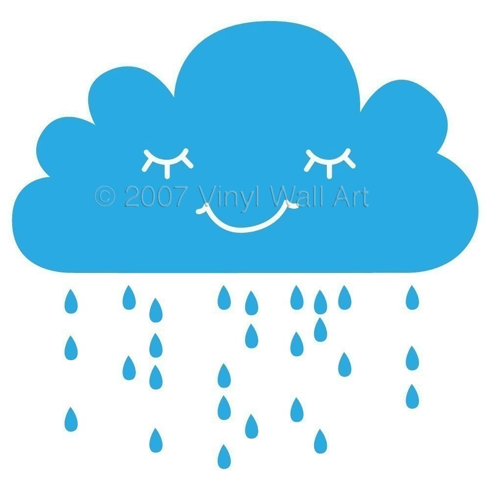 Medium rain cloud wall decal by abbysvinylwallart on etsy