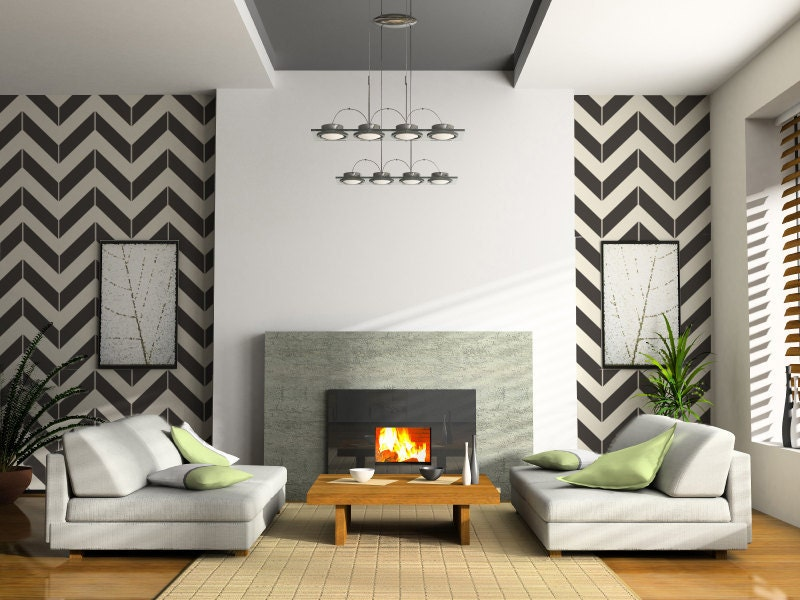 Chevron Vinyl Wall Decals size XLARGE Office Decor Bedroom