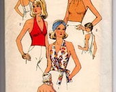 Fresh vintage Halter top with 3 styles, Wrap,  gathered bust, or high necked, retro pin-up, pinup, rockabilly, vintage pattern