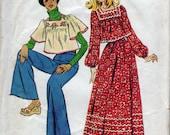 Vintage Prairie Dress style top and skirt, long or short sleeve, versatile, blouse, shirt, top, handkerchief top, ca 1973