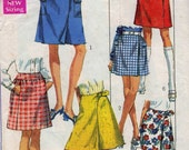 Thoroughly Modern,  60s a-line skirt pattern, in mini and knee length, 3 styles featuring vintage high style details.ca. 1969