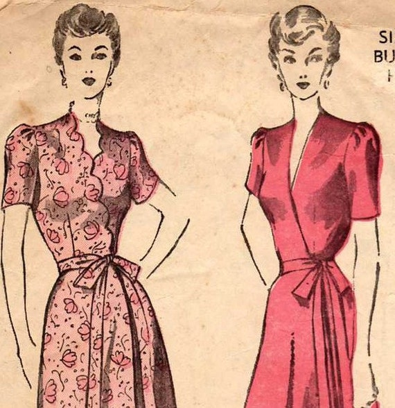 1930's luxurious Gown, wrap dress, Pin-up robe, elegant and sexy Pattern, hostess gown, housecoat