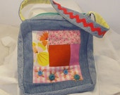 log cabin purse with vintage buttons