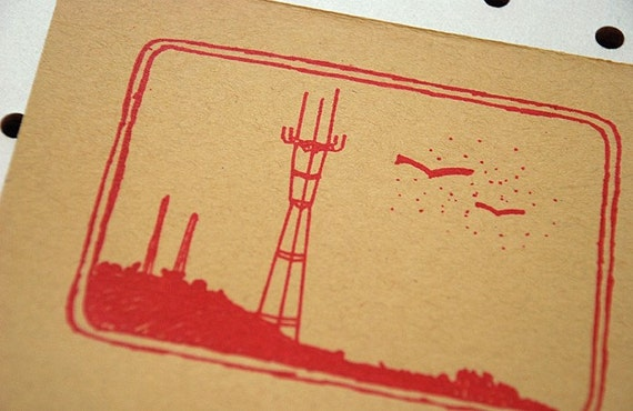 Sutro Tower - Limited Edition Gocco Print