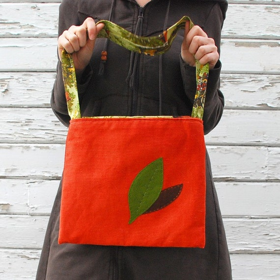 SALE -- Two Leaves Vintage Fabric Tote