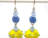 TWO-BIT FLOOZY Yellow and Green Bumpy Glass Beads with Blue Accents