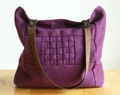 RESERVED FOR DELYNNE - Purple wool interlaced bag with leather handles