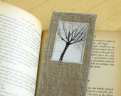 Bookmark in linen with illustration - journal tree