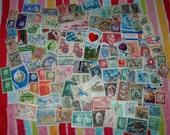 200 Vintage Used Postage Stamps Paper Ephemera FREE SHIPPING Lot 1