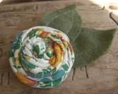 Rosette Brooch Pin Cotton Floral Print Blue Yellow Green Cream