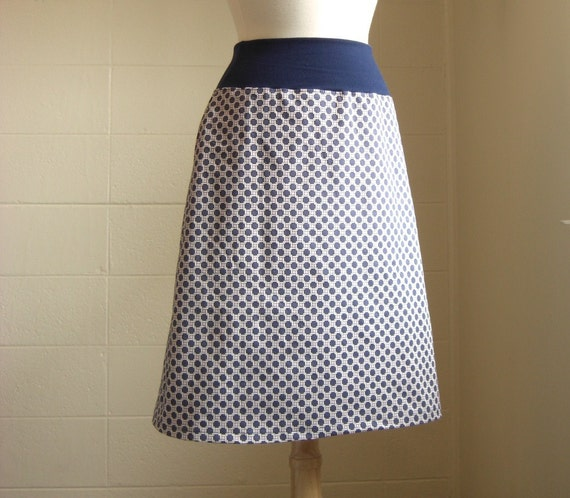 Navy and Lilac Nautical Knot Print Aline Skirt