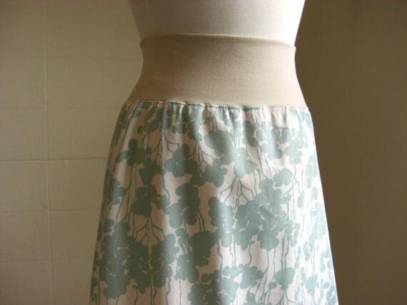SALE size Medium Cotton Aline Skirt in Sea Blue and Cream Floral Print Stretch Cotton botanical print light blue skirt maternity skirt