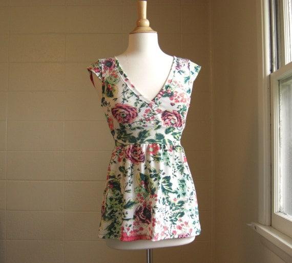 Womens Botanical Floral Print Cap Sleeve Empire Waist Shirt